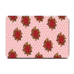 Pink Polka Dot Background With Red Roses Small Doormat  by Nexatart