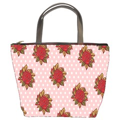 Pink Polka Dot Background With Red Roses Bucket Bags
