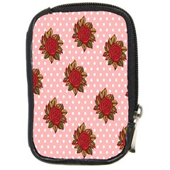 Pink Polka Dot Background With Red Roses Compact Camera Cases by Nexatart