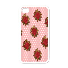 Pink Polka Dot Background With Red Roses Apple Iphone 4 Case (white) by Nexatart