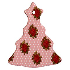 Pink Polka Dot Background With Red Roses Christmas Tree Ornament (two Sides) by Nexatart