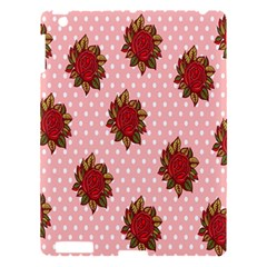 Pink Polka Dot Background With Red Roses Apple Ipad 3/4 Hardshell Case by Nexatart