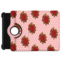 Pink Polka Dot Background With Red Roses Kindle Fire Hd 7