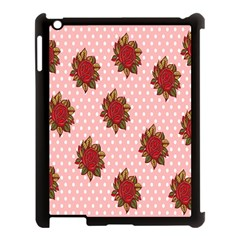 Pink Polka Dot Background With Red Roses Apple Ipad 3/4 Case (black)