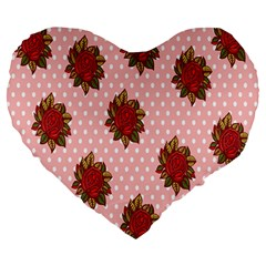 Pink Polka Dot Background With Red Roses Large 19  Premium Heart Shape Cushions by Nexatart
