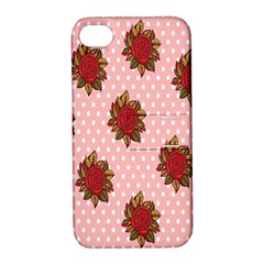 Pink Polka Dot Background With Red Roses Apple Iphone 4/4s Hardshell Case With Stand by Nexatart