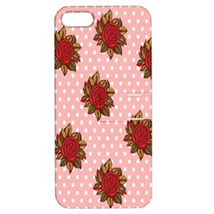 Pink Polka Dot Background With Red Roses Apple Iphone 5 Hardshell Case With Stand by Nexatart