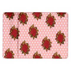 Pink Polka Dot Background With Red Roses Samsung Galaxy Tab 10 1  P7500 Flip Case by Nexatart