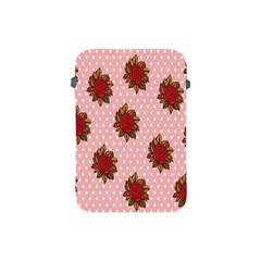 Pink Polka Dot Background With Red Roses Apple Ipad Mini Protective Soft Cases