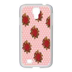 Pink Polka Dot Background With Red Roses Samsung Galaxy S4 I9500/ I9505 Case (white)