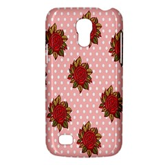 Pink Polka Dot Background With Red Roses Galaxy S4 Mini by Nexatart