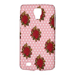 Pink Polka Dot Background With Red Roses Galaxy S4 Active by Nexatart