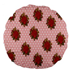 Pink Polka Dot Background With Red Roses Large 18  Premium Flano Round Cushions by Nexatart