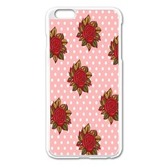 Pink Polka Dot Background With Red Roses Apple Iphone 6 Plus/6s Plus Enamel White Case by Nexatart