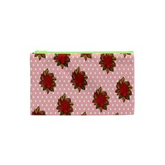 Pink Polka Dot Background With Red Roses Cosmetic Bag (xs) by Nexatart