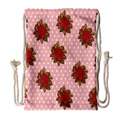 Pink Polka Dot Background With Red Roses Drawstring Bag (large) by Nexatart