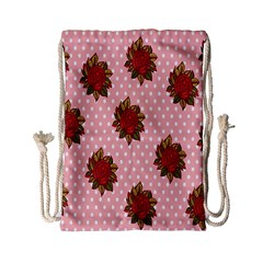 Pink Polka Dot Background With Red Roses Drawstring Bag (small) by Nexatart