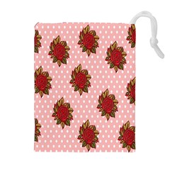 Pink Polka Dot Background With Red Roses Drawstring Pouches (extra Large) by Nexatart