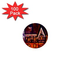 House In Winter Decoration 1  Mini Buttons (100 Pack)  by Nexatart