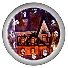 House In Winter Decoration Wall Clocks (silver)  by Nexatart
