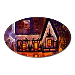 House In Winter Decoration Oval Magnet by Nexatart