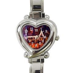 House In Winter Decoration Heart Italian Charm Watch by Nexatart
