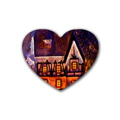House In Winter Decoration Rubber Coaster (heart)