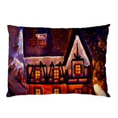 House In Winter Decoration Pillow Case by Nexatart