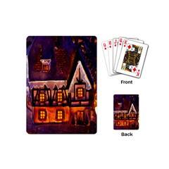 House In Winter Decoration Playing Cards (mini)  by Nexatart