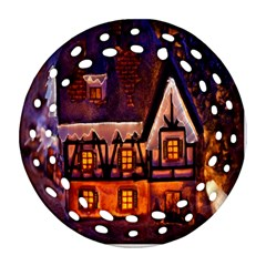 House In Winter Decoration Round Filigree Ornament (two Sides) by Nexatart