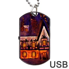 House In Winter Decoration Dog Tag Usb Flash (one Side) by Nexatart