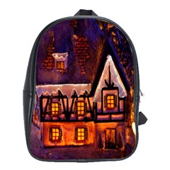 House In Winter Decoration School Bags (xl)  by Nexatart