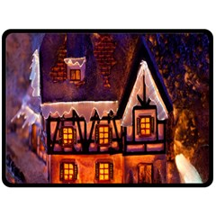 House In Winter Decoration Double Sided Fleece Blanket (large)