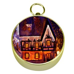 House In Winter Decoration Gold Compasses by Nexatart
