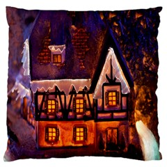 House In Winter Decoration Large Flano Cushion Case (one Side) by Nexatart