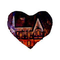 House In Winter Decoration Standard 16  Premium Flano Heart Shape Cushions by Nexatart