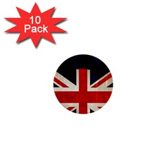 Flag Of Britain Grunge Union Jack Flag Background 1  Mini Buttons (10 Pack)  by Nexatart