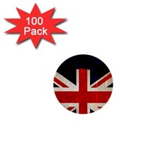 Flag Of Britain Grunge Union Jack Flag Background 1  Mini Buttons (100 Pack)  by Nexatart