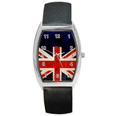 Flag Of Britain Grunge Union Jack Flag Background Barrel Style Metal Watch by Nexatart
