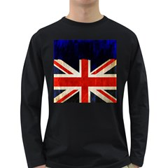 Flag Of Britain Grunge Union Jack Flag Background Long Sleeve Dark T Shirts