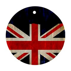 Flag Of Britain Grunge Union Jack Flag Background Round Ornament (two Sides) by Nexatart