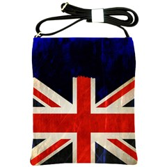 Flag Of Britain Grunge Union Jack Flag Background Shoulder Sling Bags by Nexatart