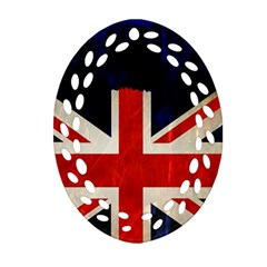 Flag Of Britain Grunge Union Jack Flag Background Oval Filigree Ornament (two Sides) by Nexatart