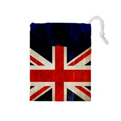 Flag Of Britain Grunge Union Jack Flag Background Drawstring Pouches (medium)
