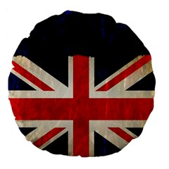Flag Of Britain Grunge Union Jack Flag Background Large 18  Premium Flano Round Cushions by Nexatart