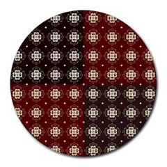 Decorative Pattern With Flowers Digital Computer Graphic Round Mousepads