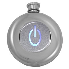 Close Up Of A Power Button Round Hip Flask (5 Oz) by Nexatart