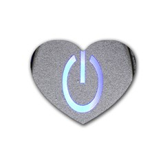 Close Up Of A Power Button Heart Coaster (4 Pack)
