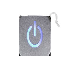 Close Up Of A Power Button Drawstring Pouches (small)  by Nexatart