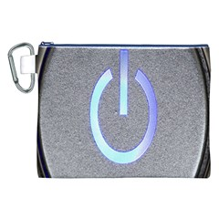Close Up Of A Power Button Canvas Cosmetic Bag (xxl) by Nexatart